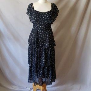 Cold shoulder floral midi dress